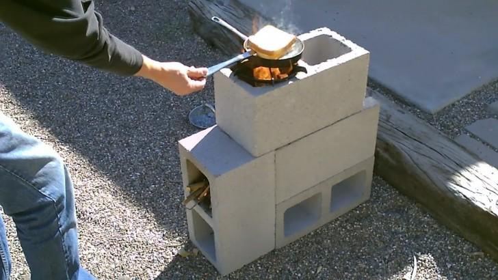 Cement Block Rocket Stove