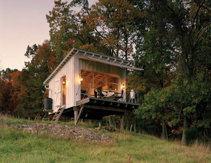 Porch on Off Grid Cabin